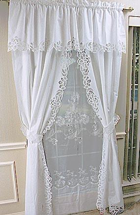 Curtain Lace Princess Anne Style Battenburg Full Size 84 Window Set Panel 35 X84 Valance 18 X76
